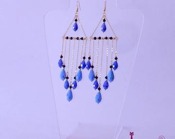 Chandelier earrings, Blue earrings, Long earrings, wedding earrings, party earrings, bridesmaid earrings,