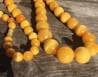 Antique Natural Amber Butterscotch Egg Yolk Necklace