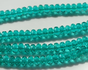 Teal 8x5mm Faceted Fire Polish Rondelle Beads   25