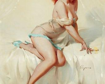Pin Up Girl Art Print Reproduction, darlene_bedside_manner_1958 by Gil Elvgren