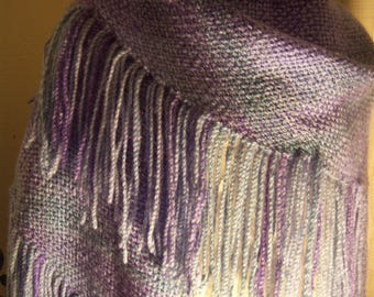 Handwoven Shawl-Blues and Purples
