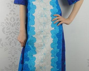 VINTAGE HAWAIIAN DRESS 1960s Cotton Floral Ui-Maikai Size Extra Small Petite