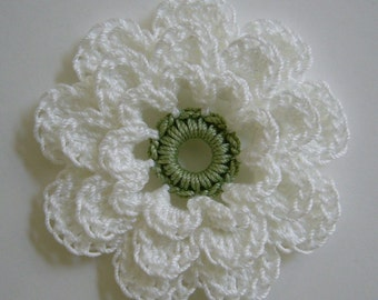 Crocheted Flower - White with Sage Green - Cotton Flower - Crocheted Flower Applique - Crocheted Flower Embellishment