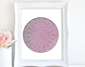 Geometric Art Print, Calming Art, Meditation Print, Purple Decor, Abstract Print, Modern Wall Decor