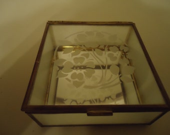 RESERVED Antique Vintage Square Glass And Gold Trimmed Jewelry Box