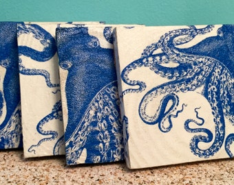 Blue Lucy Octopus Coasters Set of 4 OCTOPUS High Demand & LIMITED EDITION