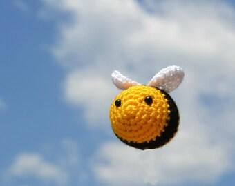 Little amigurumi bee, crochet spring cute ornament.