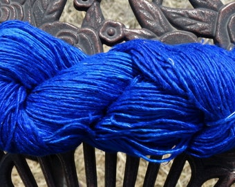263 Yards - 100% Mulberry Silk Single Ply Yarn - Extreme Blue - 100 grams - 3.6 ounces - DK weight