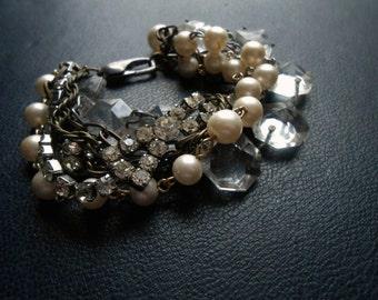 virgin widow bracelet - multi chain rhinestone crystal pearl rosary bead statement bracelet - goth antique found object jewel