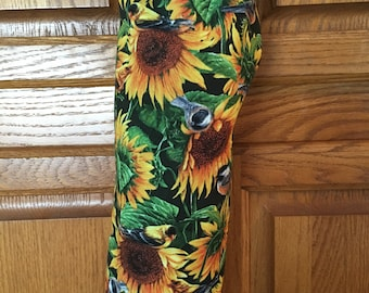 Storage for plastic grocery bags, recyclable grocery bag holder with sunflowers, grocery bag holder with sunflowers, kitchen bag holder