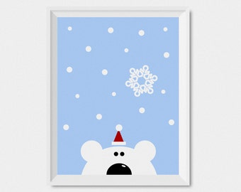 Polar Bear Christmas Print, Christmas Wall Art Print, Instant Download Christmas Art Print, Digital Download Art, Winter Decor Holiday Art