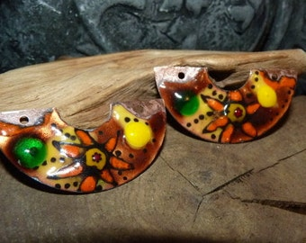 Reserved Nady * copper Charms, enameled, yellow, caramel, orange-45 x 20 mm-copper charms and trinkets half moon-Abstract-Handmade