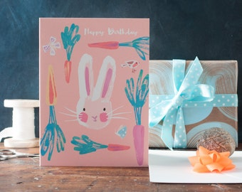 Happy Birthday bunny card, spring greeting card, cute rabbit card, whimsical, for children, boys, girls, butterflies, robin, Inkpaintpaper