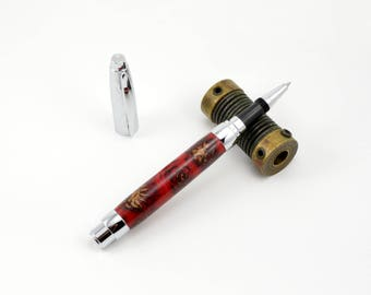 Etched Chrome Rollerball Pen - Pine Cones in Red Acrylic Pen - Handcrafted By Whiddenswoodshop