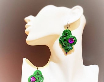 Soutache Earrings, Dangle Soutache Earrings, Green Purple Soutache Jewelry