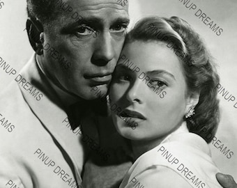 "Humphrey Bogart & Ingrid Bergman Wall Art Print of The Hollywood Movie Legends Vintage A4 (11.7"" x 8.3"") reprint"