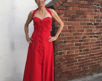 VTG David Howard Climax Karen Okada Sz 8 9 10 Pinup Rockabilly Halter Dress NWT Deadstock Lipstick Red