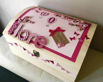 Size large chest keepsake - birthday gift - great baby gift box customizable wood - cherry blossoms (fuchsia theme