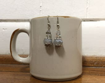 Silver and White Crystal Beaded Dangle Earrings