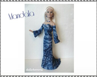 "Tyler Doll Clothes - MANADALA Medieval blue Gown and Jewelry - Custom Fashion fits 16"" Tonner dolls - by dolls4emma"