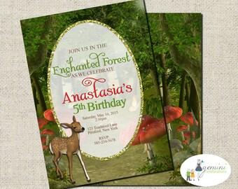 Enchanted Forest Invitation, Woodland Invitation, Printable Birthday Invitation