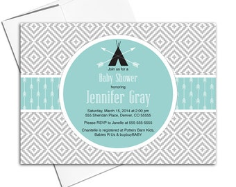 tribal aztec baby shower invitation arrows | black and blue mint | boho neutral baby shower invites printable or printed - WLP00702