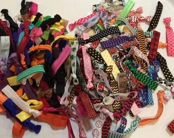 Elastic Hair Ties 50 pack Foldover Elastic Ponytail Holder Party Favors Grab Bag No Tug Hair Ties Hair Bands for Girls Wholesale