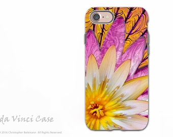 Orange Lotus Blossom - Artistic iPhone 7 - iPhone 8 Tough Case - Dual Layer Protection - Floral Case for Apple iPhone 7 - Sun Bloom