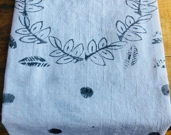 Hand stamped flour sack tea towels. DESIGN No.1