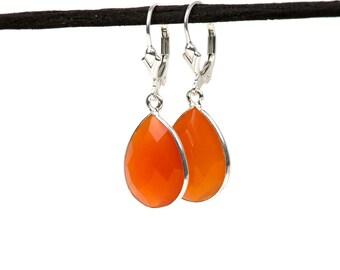 Carnelian Earrings, Gemstone Drop Earrings