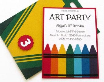 Crayon Birthday Party Invitation | Art Party Invitation