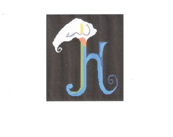 2# Digital Initial H with Lily Symbols Needlepoint Pattern