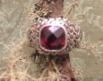 Beautiful Red Faceted Stone and Sterling Silver Ring