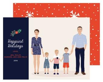 Custom Family Portrait, christmas card, holiday card, christmas portrait card