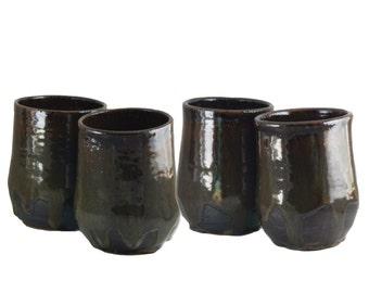 Set of four (4): Wine Tumblers /  Tea Cup Bowls / Handleless Mugs, 10 ounce oz each, green & brown Handmade Wheel Thrown ceramic
