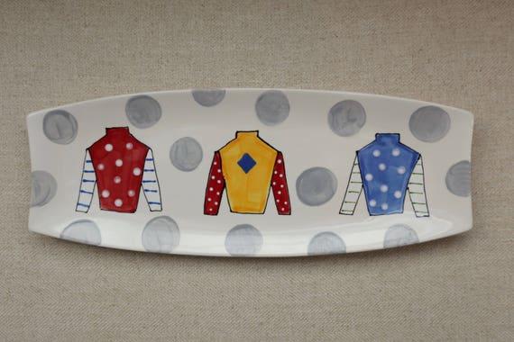 KENTUCKY DERBY platter, Kentucky Derby party, Derby platter, Horse racing platter, Jockey Silk platter
