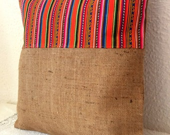 Burlap and cotton Cushion cover 40 x 40