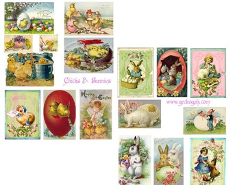 Chicks and Bunnies Digital Collage Set