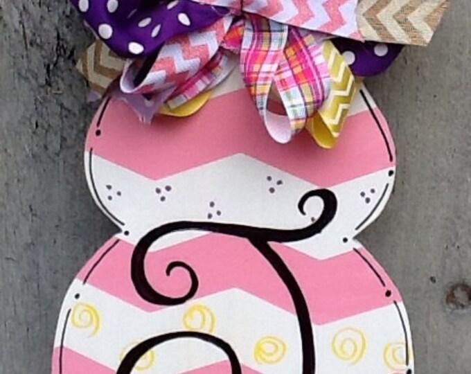 Easter sign, easter door sign, easter door hanger, chevron easter sign, monogram easter sign, easter door hanger
