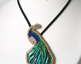 Embroidered Peacock necklace