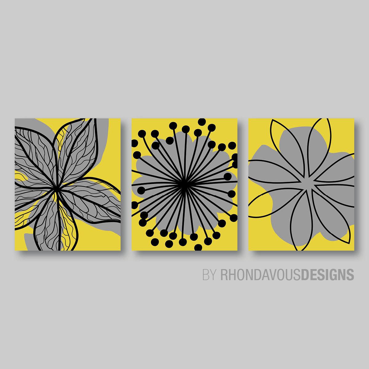 Mustard Yellow Gray Flower Print Trio Home Petals Bloom Wall