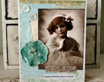 Happy Birthday Dear Friend,handmade card,collage card,birthday card