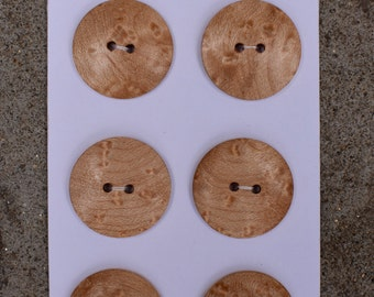 Bird's Eye Maple wood buttons, set of 6