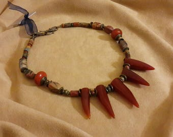 "Necklace with carnelian and Jasper ""JoyaDreams"""
