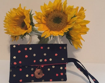 Polka Dot Fold Over Wristlet