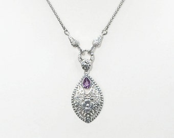 Sterling Silver Marquis Shaped Necklace With Amethyst Gemstone