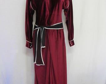 Goth Robe Velvet Robe Full Length Burgundy Robe Front Zipper