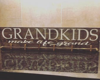 Grandkids - Grandkids Sign - Grandparent Gift - Grandkids Picture Display - Grandkids Art Display - Plan B Decor - Grandkids are Grand