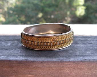 Antique Reversible Gold-fill Ornate Cannetille Hinged Bracelet