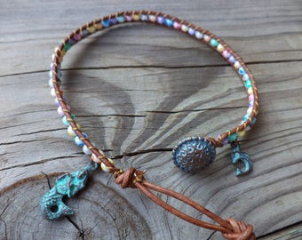 Mermaid Anklet Tie Dyed Dolphin Anklet Dolphin Jewelry Bohemian Anklet Beach Boho Chic Bohemian Jewelry Leather Anklet Leather Jewelry